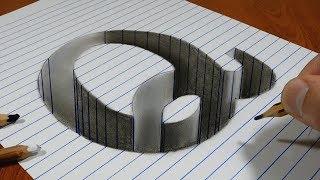 Draw a Letter Q Hole on Line Paper   3D Trick Art
