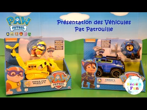 Véhicules Pat Patrouille Chase et Ruben / Paw Patrol Police Vehicle and Rubble's Crane