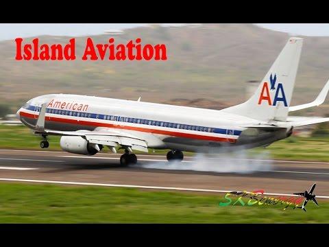 American Airlines 737's, Learjet 45, BN-2 Islander, beech 99..@ St Kitts
