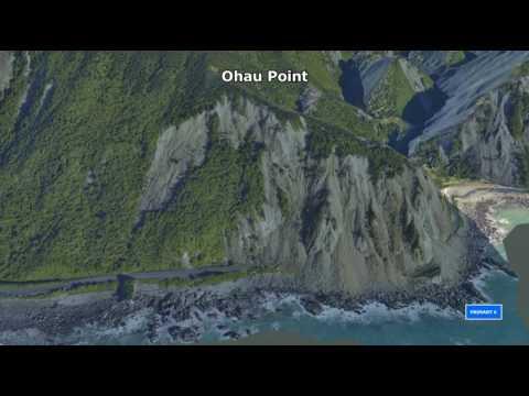 3D fly through along the Kaikoura Coast from Oaro