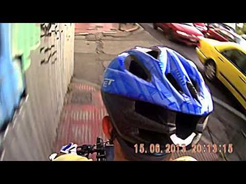 Over shoulder Camera Rig Test Drive - Cycling in the Streets of Athens