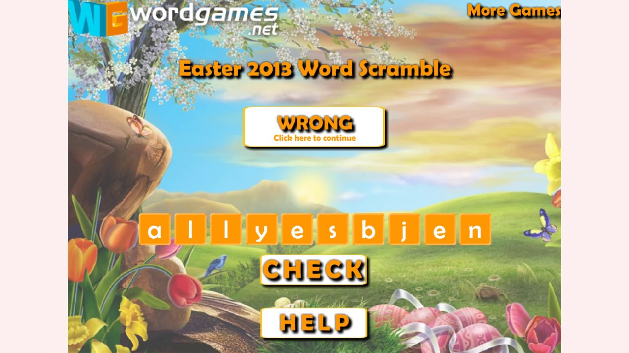 How to play Easter 2013 Word Scramble game | Free online games |  MantiGames com