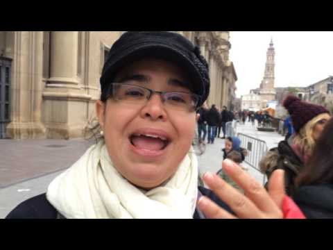 Walking around the town plaza in Zaragoza Spain