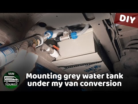 Mounting grey water tank under my sprinter van conversion. DIY waste water tank for RV with plumbing