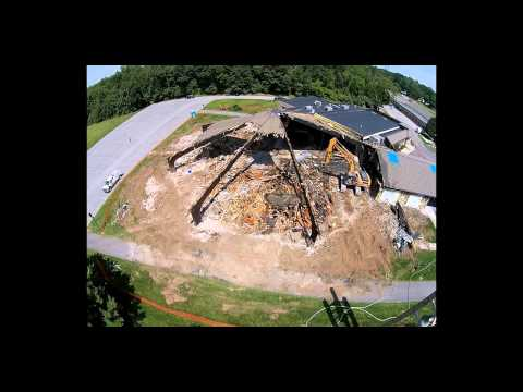 Aerial footage of St. Pius Tenth demolition
