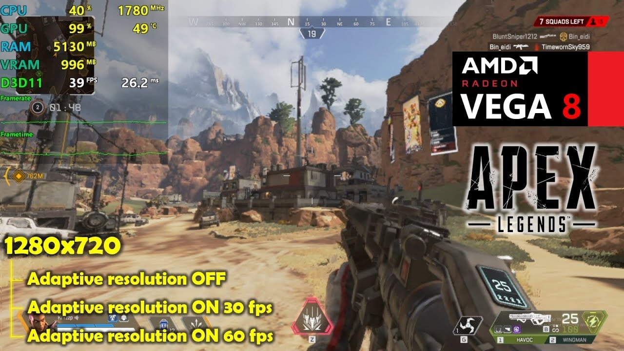 Ryzen 5 2500U + Vega 8 | Apex Legends - 720p - Adaptive Resolution Tested!