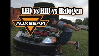 AuxBeam LED Headlight Review and Comparison HID vs LED vs Halogen