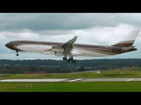 "Klaret Aviation Private Airbus A340-300 ""Bourkhan"" landing at Zurich Airport 