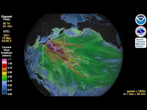 Tsunami Animation:  Tohoku, Japan 2011 (rotating globe)