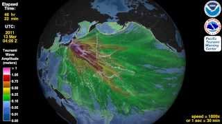 Tsunami Animation:  Tohoku, Japan 2011 (rotating globe)