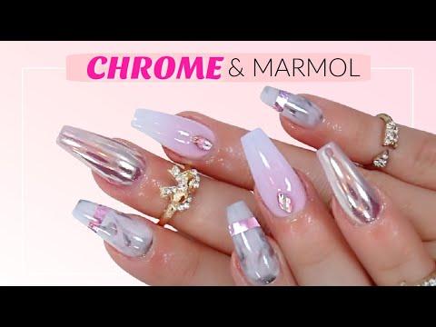 Efecto espejo marmol y frances difuminado youtube for Unas color marmol
