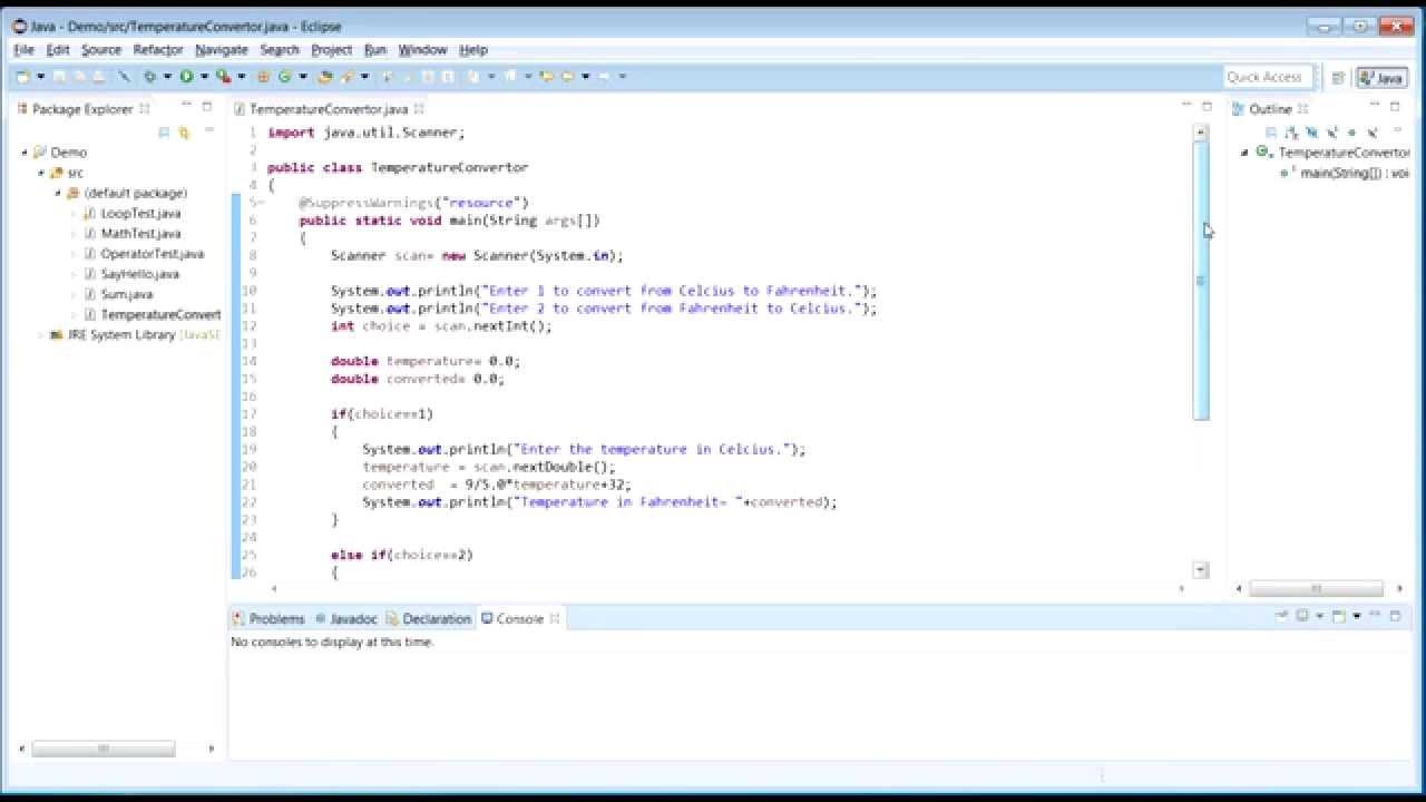 Java Program To Convert Temperature From Celsius Fahrenheit And Vice Versa Part 2