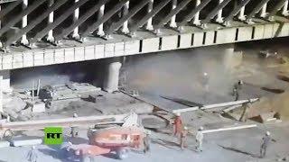 Momento del derrumbre en el Aeropuerto Internacional de Buenos Aires