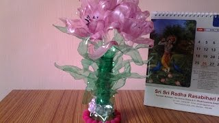 Best Out Of Waste Plastic Bottles Transformed To Pretty Pink Flowers Showpiece