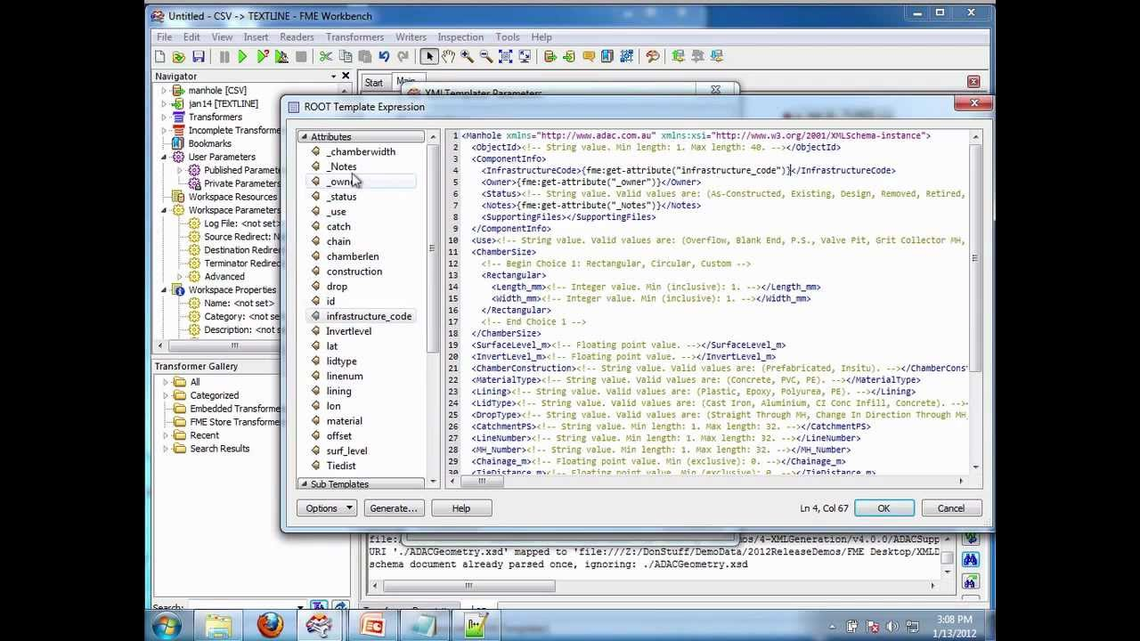 Writing XML Documents using only XML Schema documents (* xsd) with FME 2012