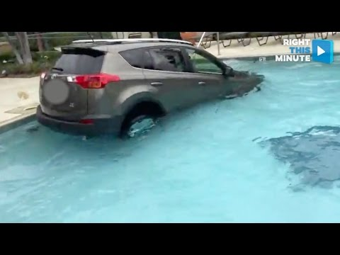 SUV Goes Diving in Apartment Complex Pool