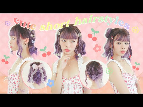 cute 5 minute hairstyles for SHORT HAIR!! 🍒❤️ - YouTube