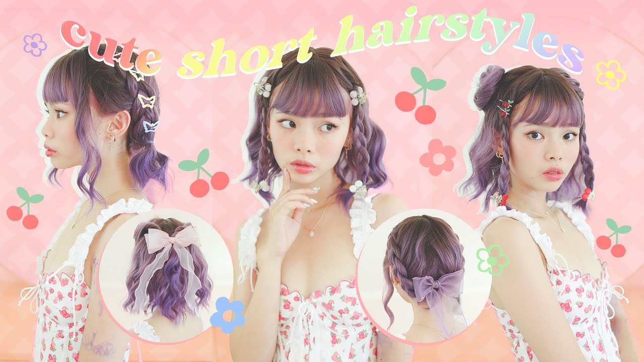 cute 5 minute hairstyles for SHORT HAIR!! 🍒❤️