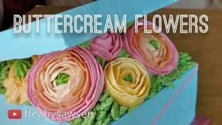 Floral buttercream gift box cake pt 1 - how to pipe ranunculus, poppy, rosebud flowers