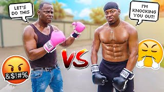 1 VS 1 BOXING MATCH AGAINST MY 50 YEAR OLD DAD 💔😭 **LAST MAN STANDING WINS**