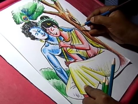 how to draw lord krishna radha drawing youtube