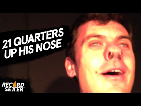 World Record: Man Fits 21 Quarters Up His Nose!