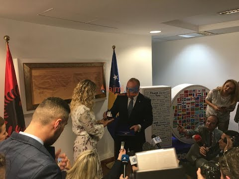 Rita Ora meets with Prime Minister Haradinaj in Kosovo