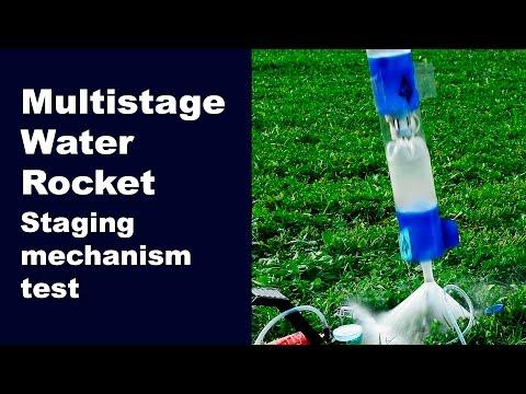 Multistage water rocket. Staging mechanism test.