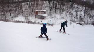Горные лыжи. Обучение детей. Повороты на параллельных лыжах. (4 года) 4.02.2017