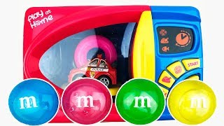 Learn Colors with Vehicles for Kids Microwave M&M Chocolate Video For Kids