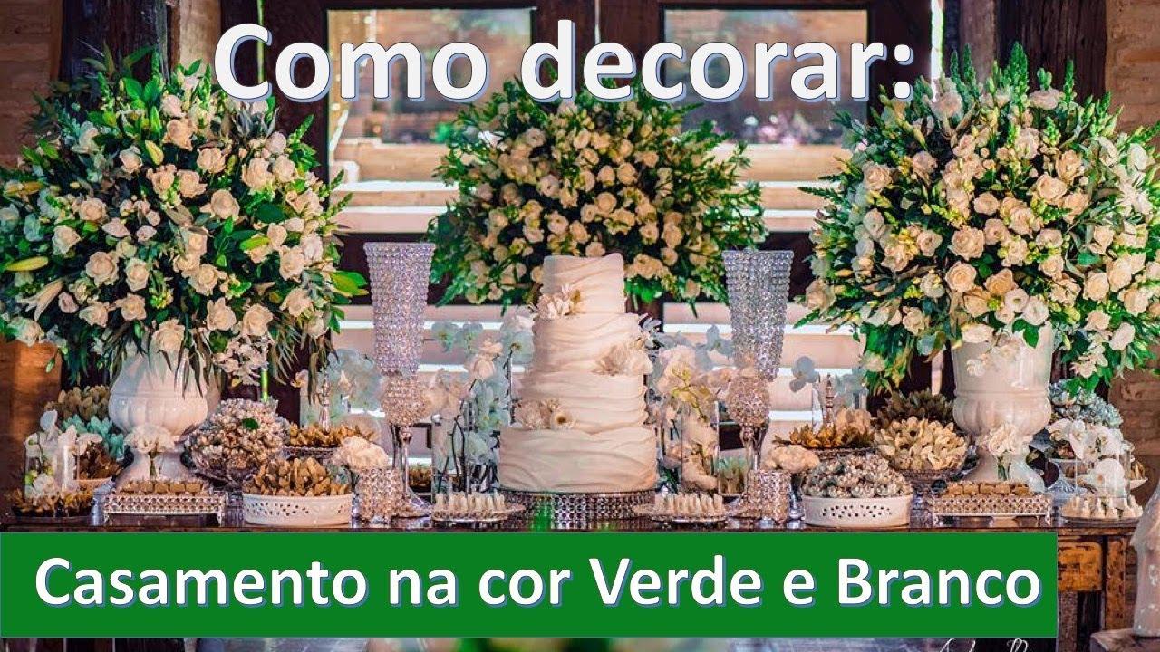 Decoraç u00e3o de casamento na cor verde e branco e Greenery YouTube -> Decoração De Casamento Na Igreja Rosa E Branco