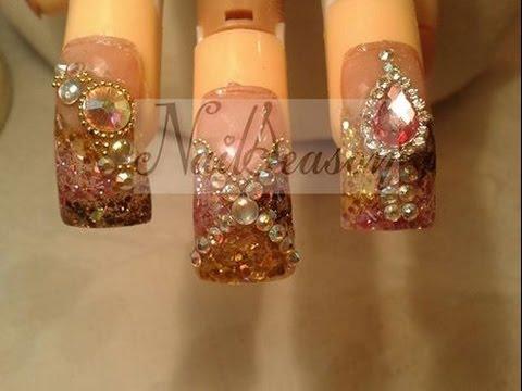 como decorar uñas con piedras (cristales) Uñas estilo sinaloa de acrilico 2016 , YouTube