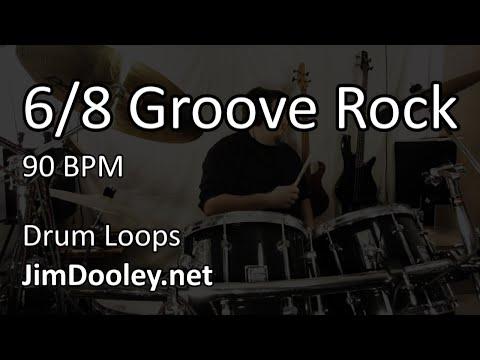 [20 Minute Beat] 6/8 Groove Rock 90 BPM