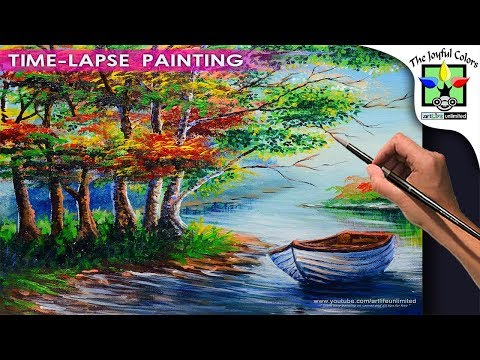 ACRYLIC PAINTING LESSON Basic Boat in the River with Autumn trees | Art Tutorial for Beginners