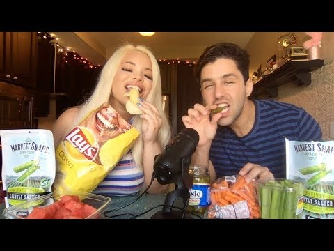 BIG CRUNCH FOODS ASMR *INTENSE* with JOSH PECK!  TINGLES  PICKLES, CHIPS, CARROTS