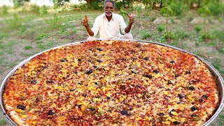 Download Biggest Vegan Pizza Recipe By Our Grandpa | Veg Pizza Recipe with out oven Mp3 and Videos