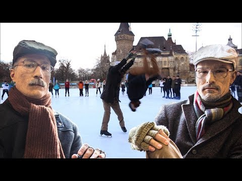 Old Man Ice Skating Prank PART 2 / Backflip on ice / Acroice