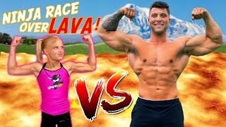 Gymnast vs Giant! The Floor is Lava Ninja Race!