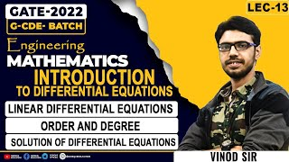 LEC 13 || Introduction of differential equation || G-CDE || GATE 2022