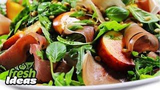 Summer Salad Recipe With Fresh Peach And Prosciutto