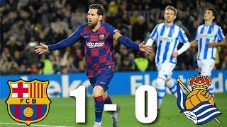 Lionel messi's late penalty secured a vital win for barça at the camp nou on saturday against real sociedad. and it could've been two on, when ansu fati...