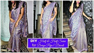 How to make a Half & Half Saree at home with beautiful border   Step by Step Saree Making Tutorial