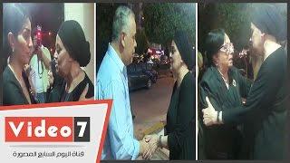 وفاء عامر وسميرة عبد العزيز واشرف زكى فى عزاء والدة عفاف رشاد