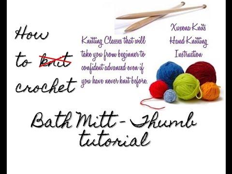 crochet bath mitt - working the thumb