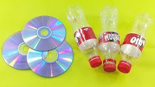 waste plastic bottle & Waste cd disc reuse idea | best out of waste | plastic bottle craft idea