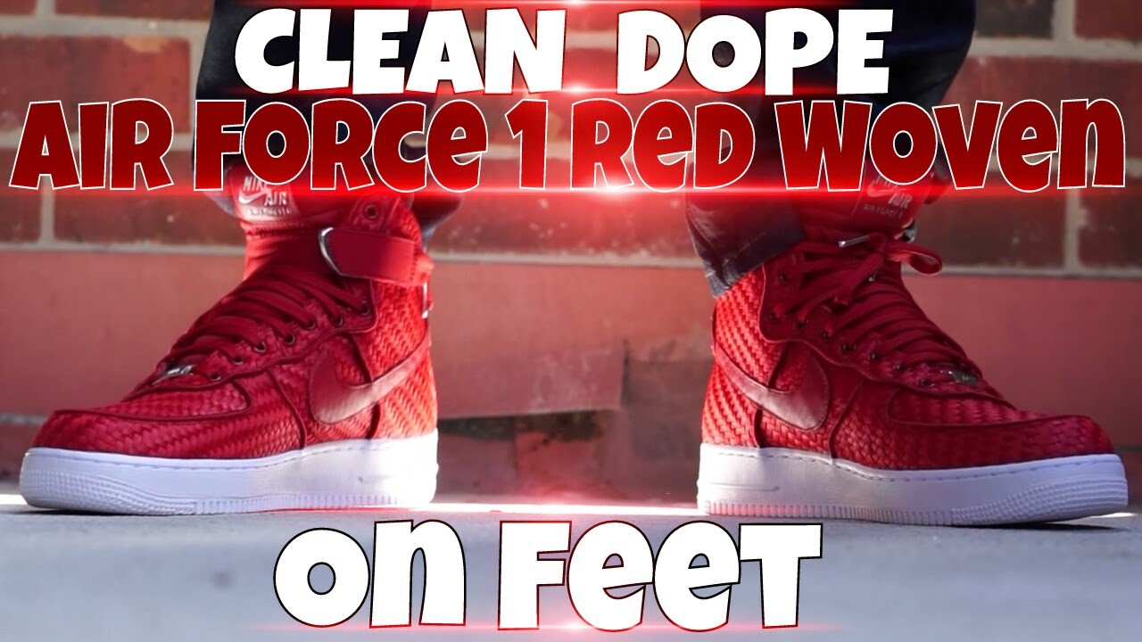 new style 56852 62122 Air Force 1 High Red Woven (On Foot)