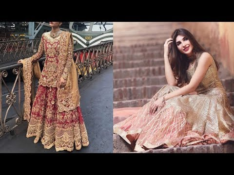 Zardosi Work Long Bridal Dress Designs 2018