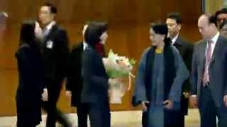 Daw Aung San Suu Kyi greeted by supporters in South Korea   Video   Reuters