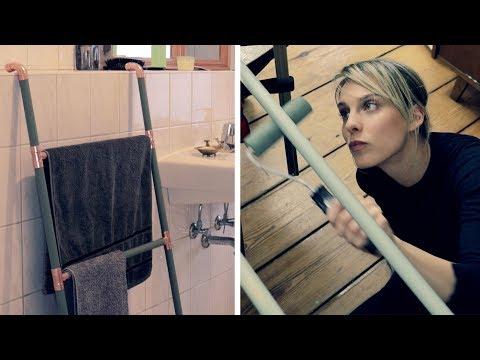 Design Handtuchhalter aus Holz und Kupfer | DIY