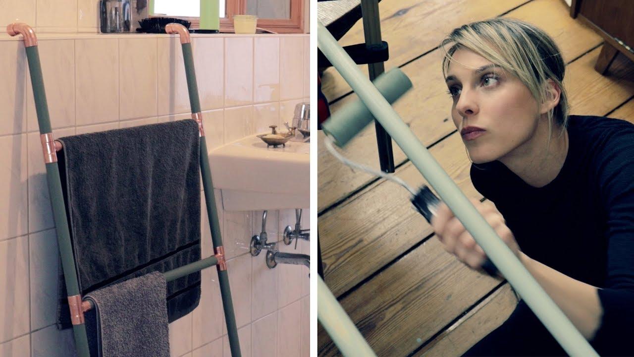 Design Handtuchhalter Aus Holz Und Kupfer Diy Youtube